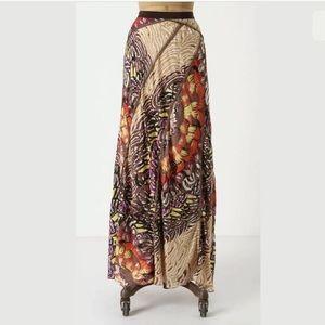 Anthropologie Tiny Silk Patchwork Maxi Skirt C3